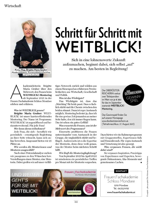 Weiblick Mentoring in die Oberösterreicherin