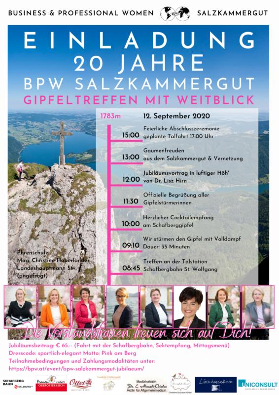 Einladung zum Gipfeltreffen mit Weitblick - 20 Jahre BPW Salzkammergut