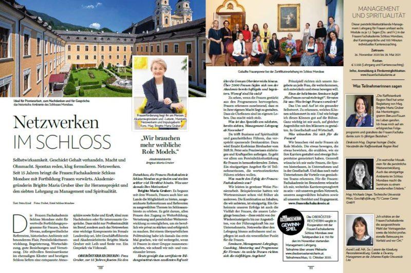 Artikel - Netzwerken im Schloss - in Die Oberösterreicherin am 4. September 2020