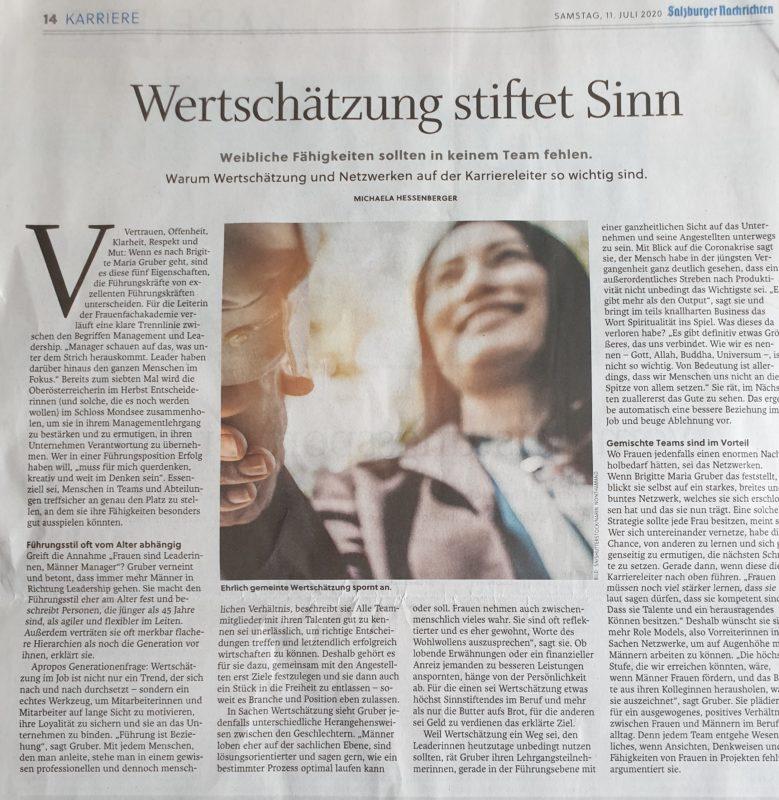 Artikel über Wertschätzung in den Salzburger Nachrichten