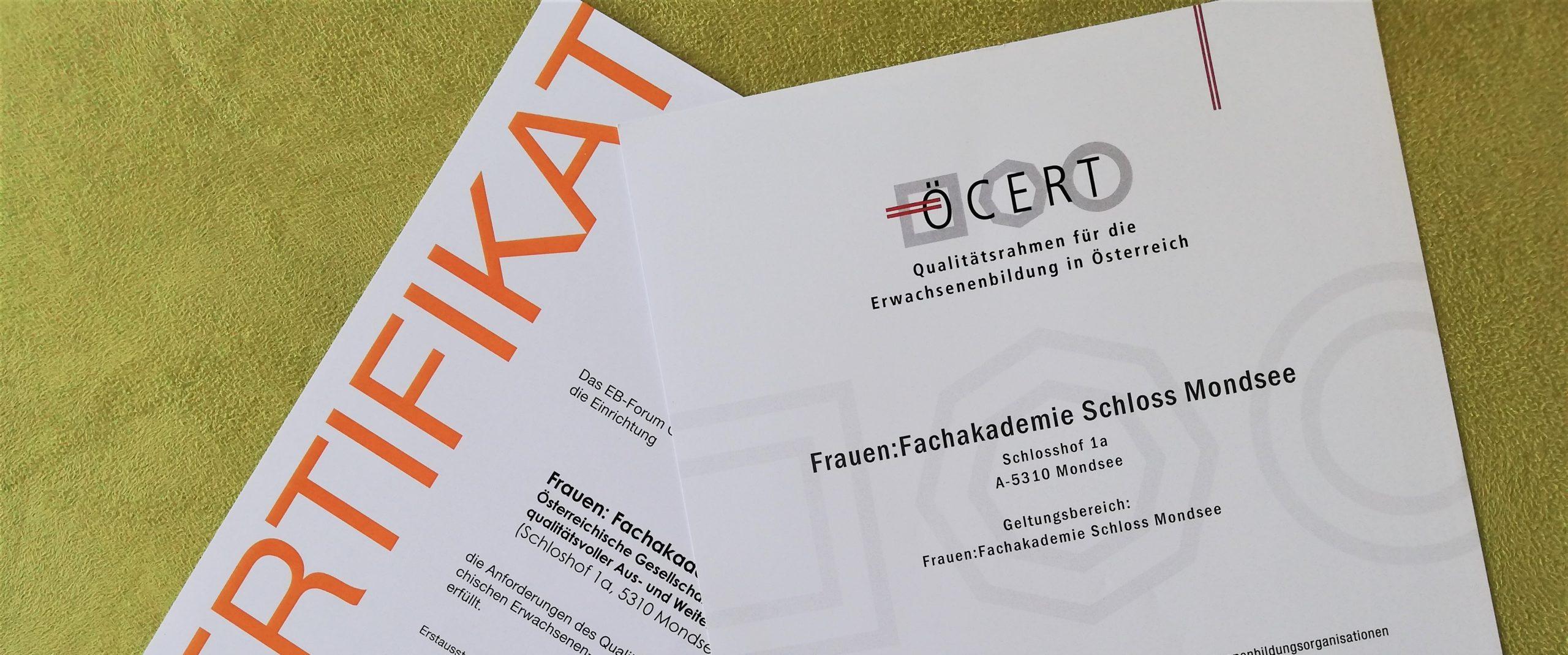 Zertifikat von ÖCERT und Forum Weiterbildung
